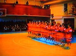 Пятигорская команда на построении перед встречей с гостьями из Омска
