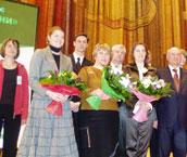 Победители конкурса Коммунальная культура жизни на сцене Президент-Отеля в Москве (третий слева)